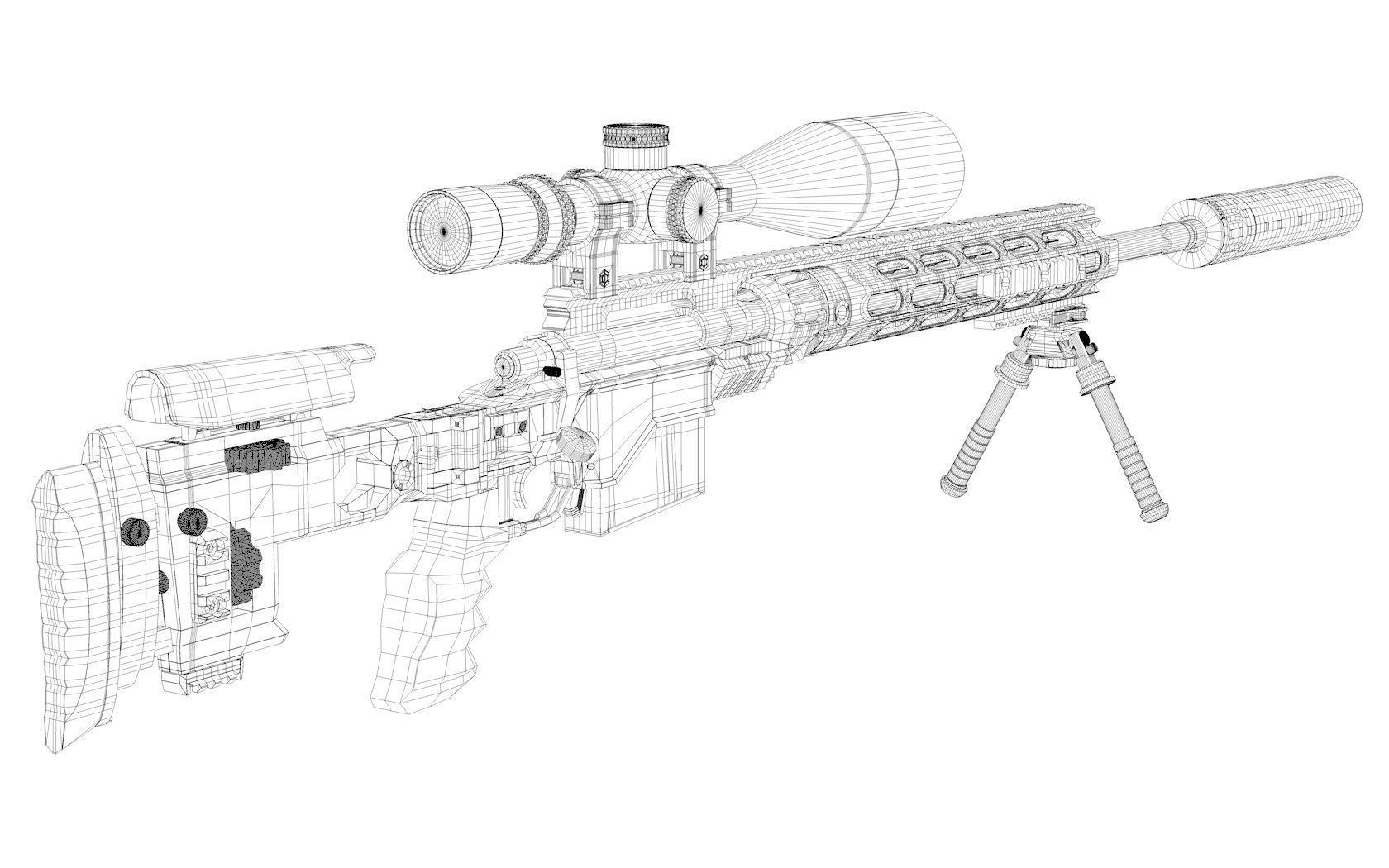 Remington Xm Sniper Rifle 3d Model Obj 3ds C4d Lwo