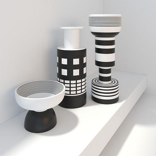 Bitossi Modern Vases Black And White Decor 3D Model MAX