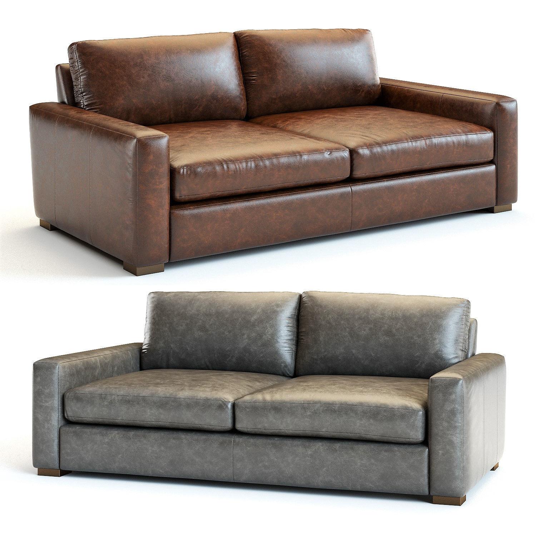 restoration hardware maxwell leather sofa 3d model