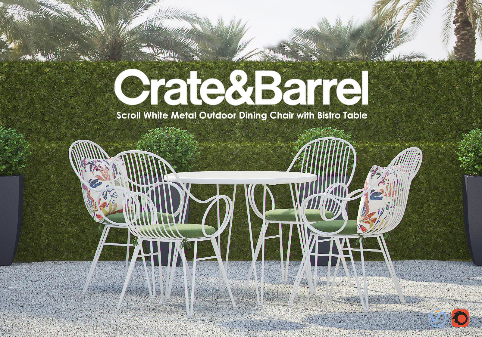 scroll white metal outdoor dining chair with bistro table 3d model