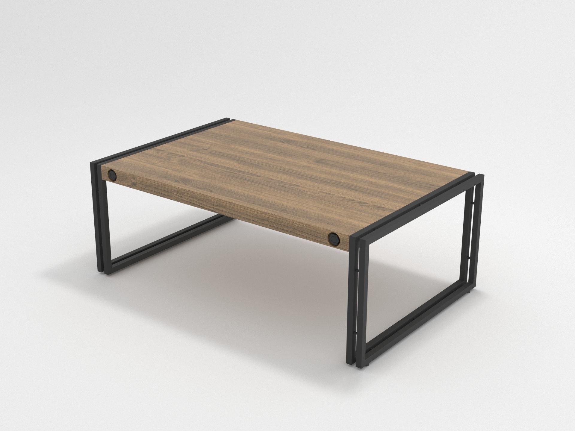 industrial wooden coffee table metal frame coffee table 3d model