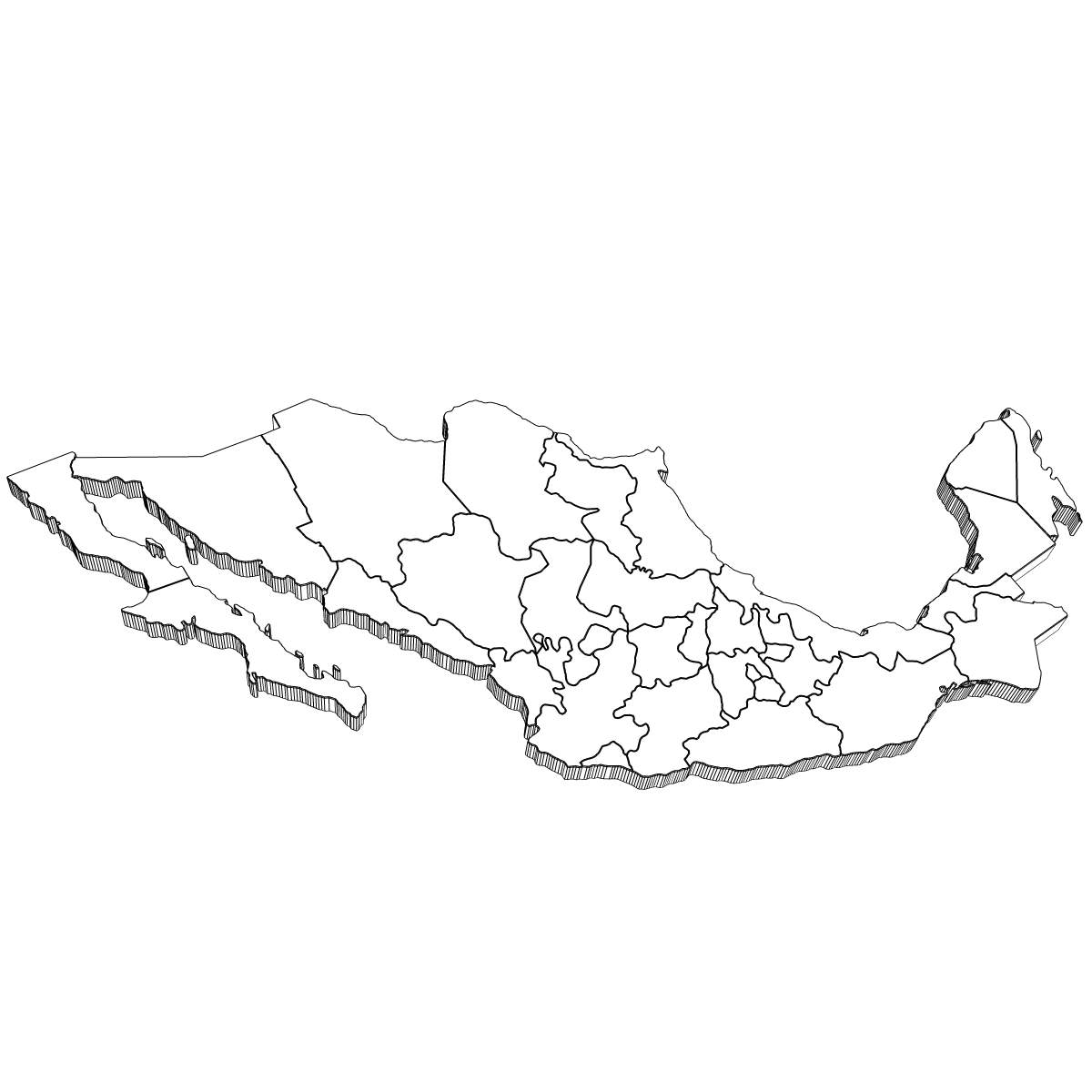 Mexico Map 3d Model X Obj 3ds Wrl Wrz
