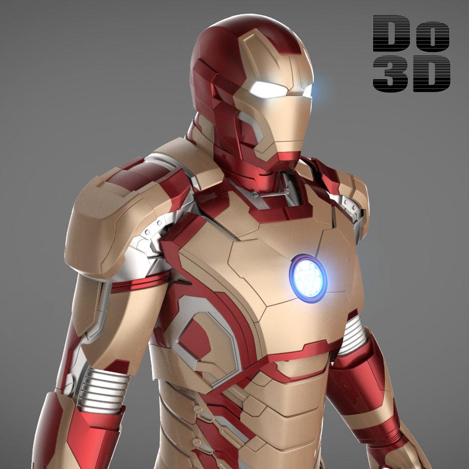 Iron Man 3 Suit Mark 42 Armor 3D Model Max Obj 3ds