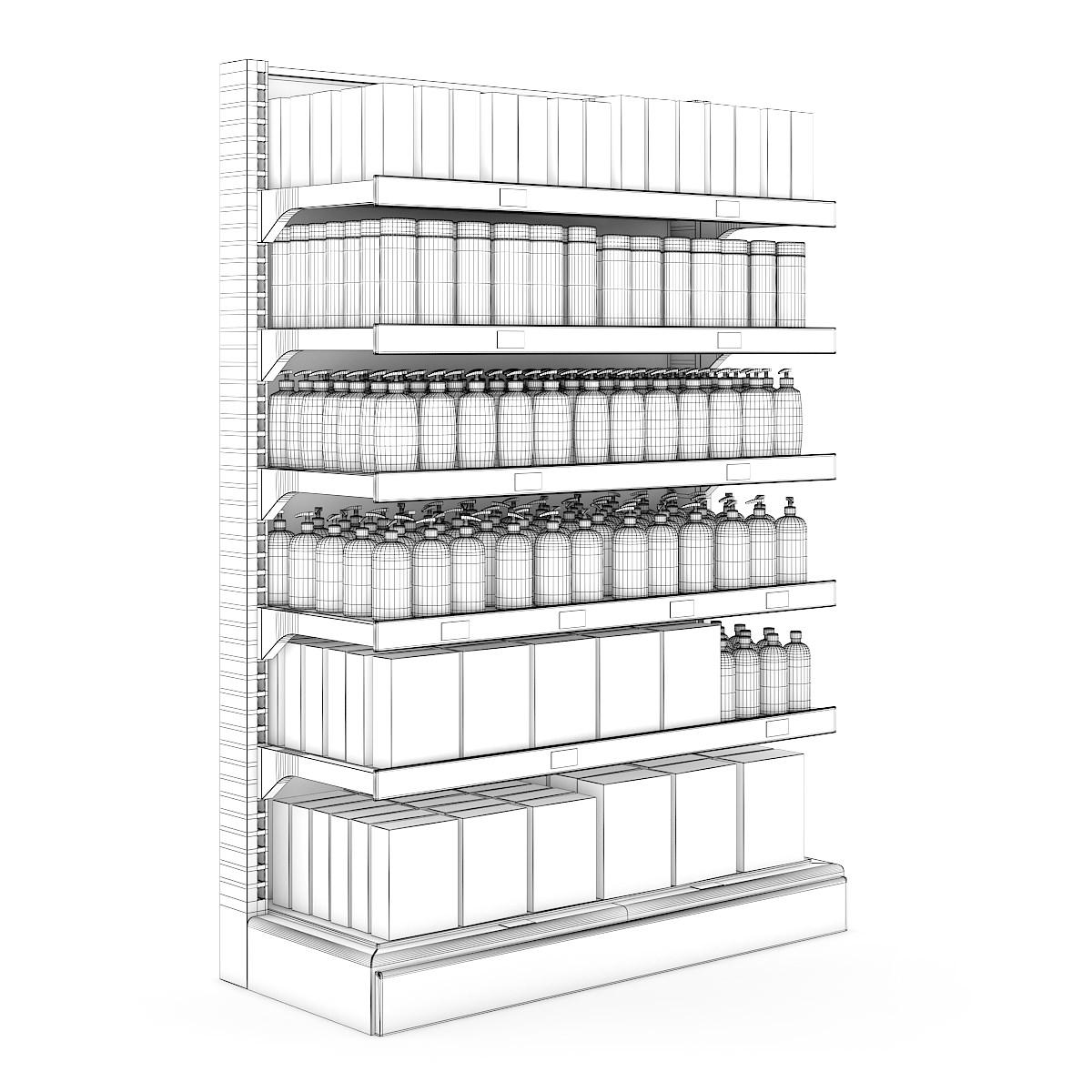 Supermarket Shelf 10 3d Model C4d