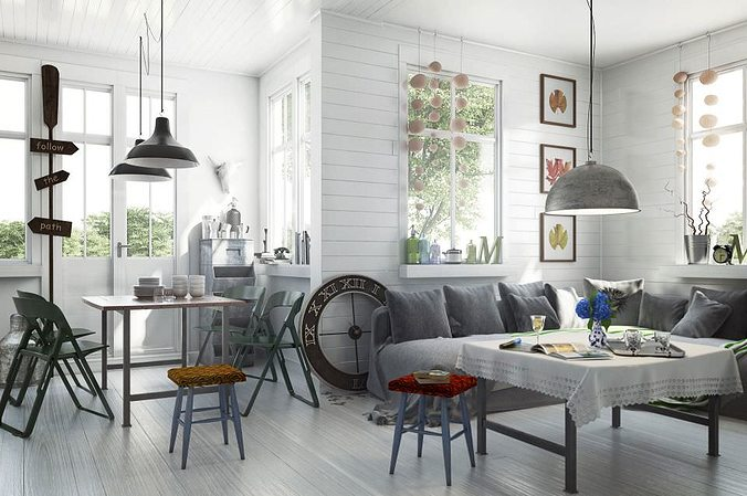 Scandinavian Style Living Room With Dining Table 3D Model MAX