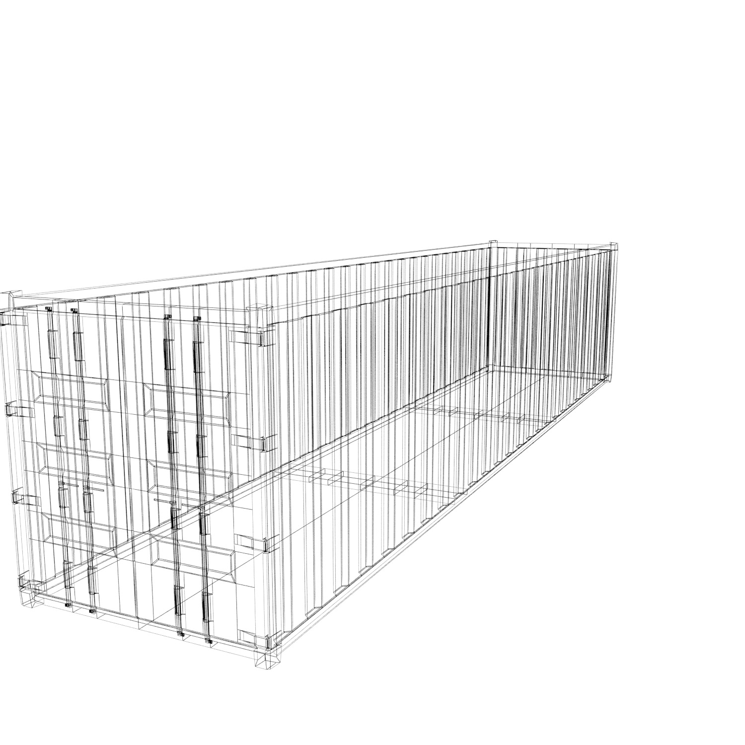 40 Ft Sea Container Free 3d Model Game Ready X Obj