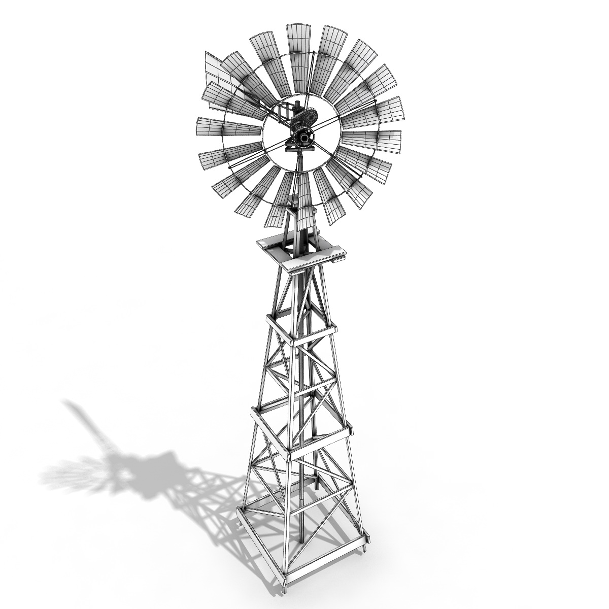Windmill 3d Model Game Ready X Obj Fbx Lwo Lw Lws