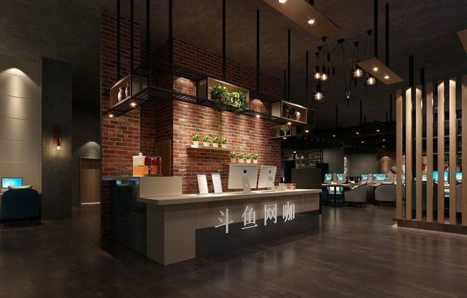 China Modern Restaurant Interior Brick Decor 179 3D Model MAX