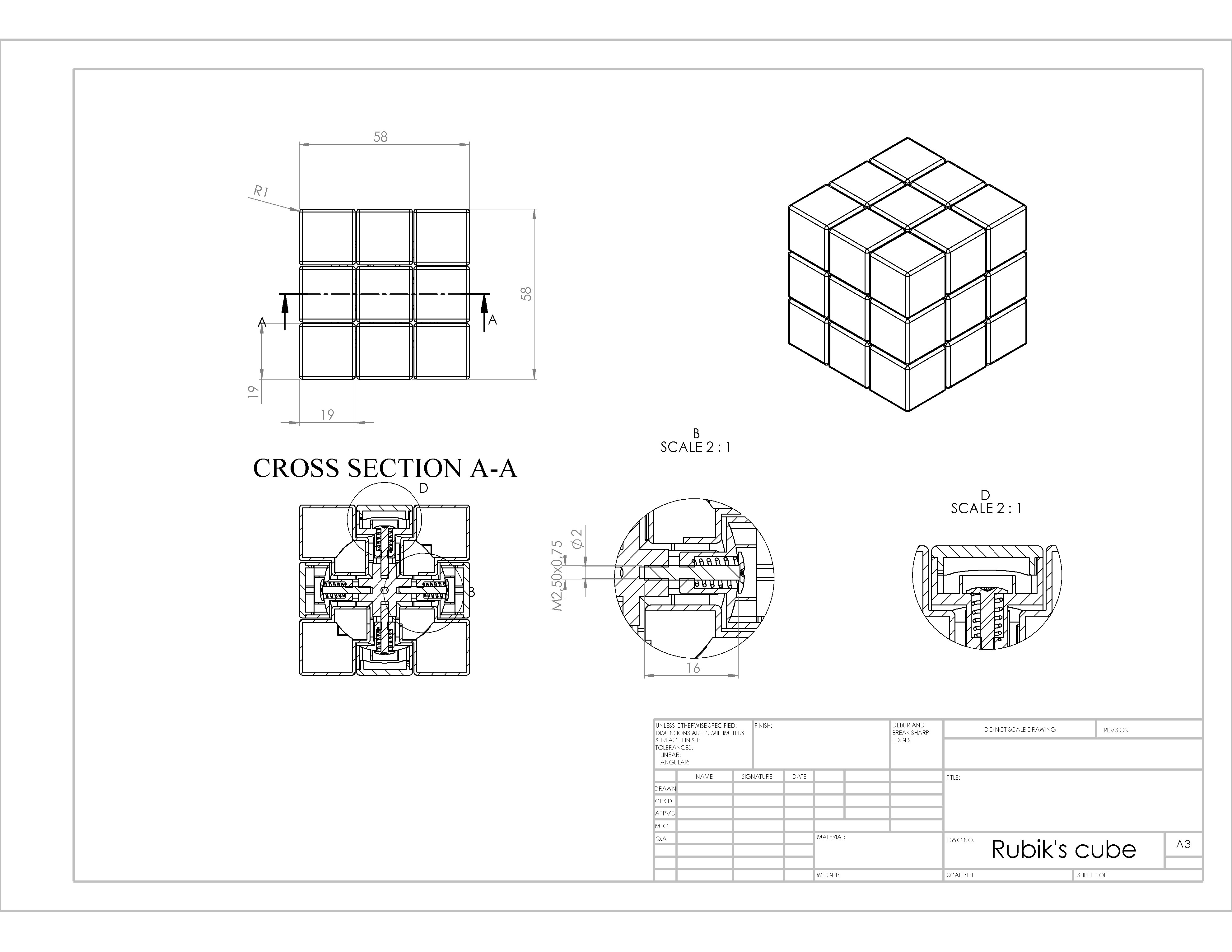 Rubik S Cube 3d Model 3d Printable Stl Sldprt Sldasm