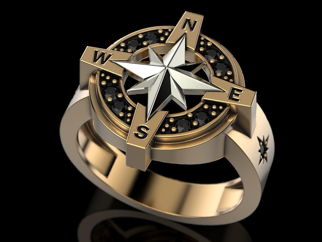 Compass Rose Ring 2 3d Printable Model