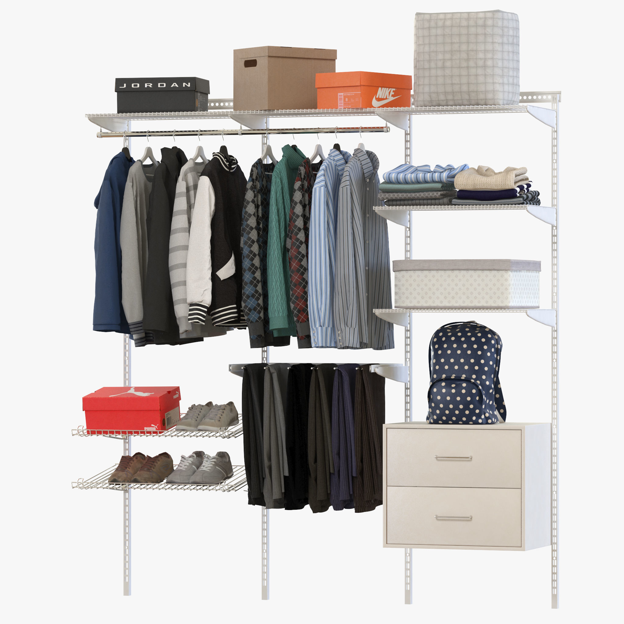 Elfa Storage System Clothes 3d Model
