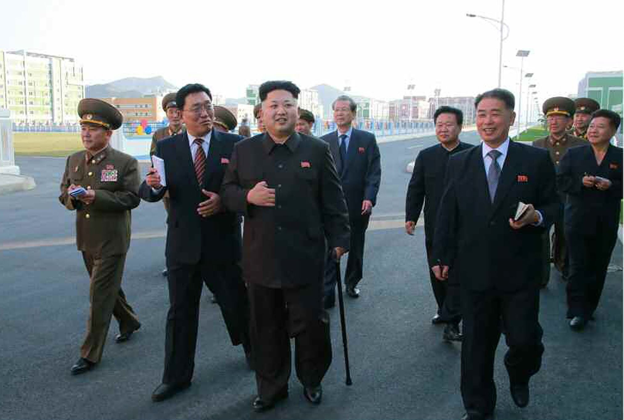 Speculations about the reason for the North Korean leader's absence are put to rest as he visited to the Wisong Scientists Residential District in Pyongyang, North Korea, on October 13th, 2014.
