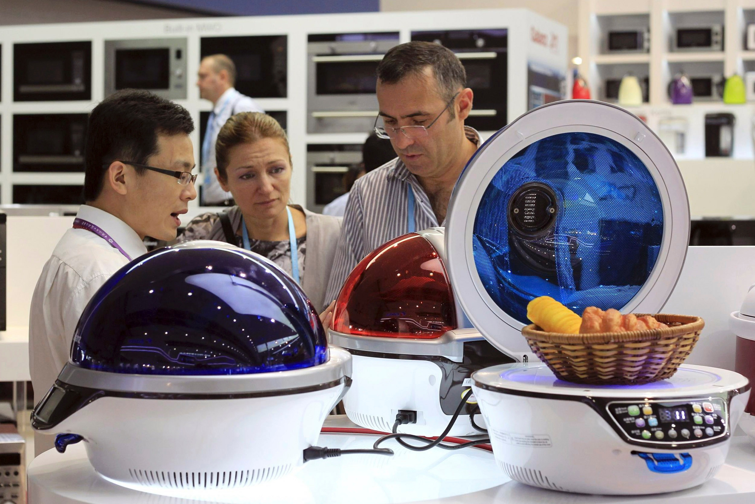 Buyers look at kitchen appliances in China.