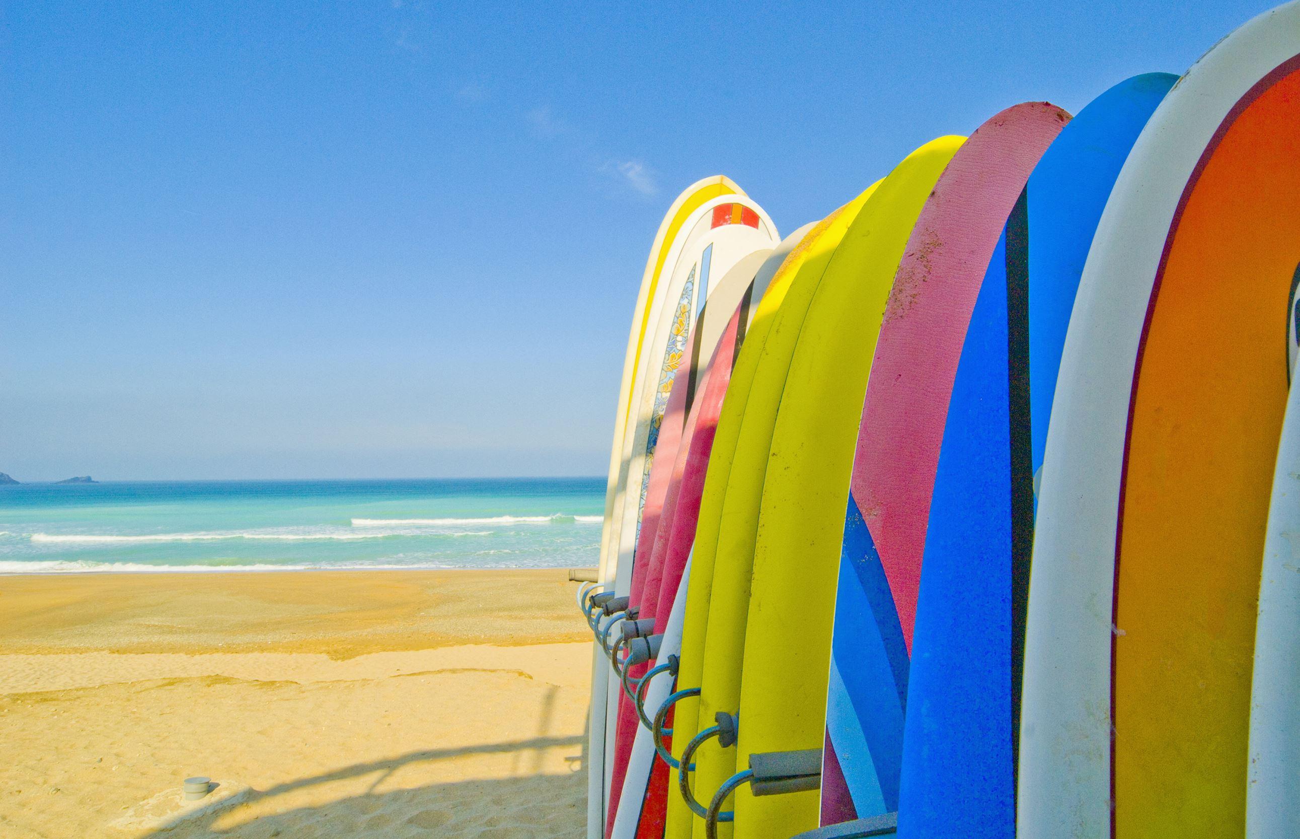 Surfboards on beach Newquay, Corwall