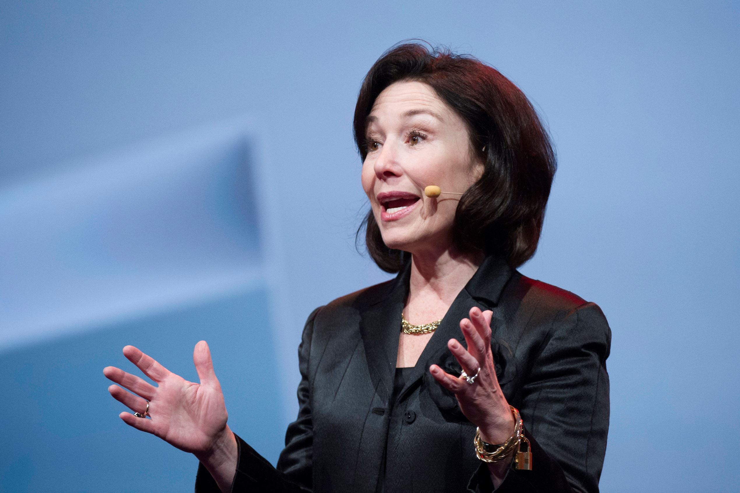 Safra Catz, co-chief executive officer of Oracle Corp., speaks during the Oracle OpenWorld 2014 conference in San Francisco in 2014.