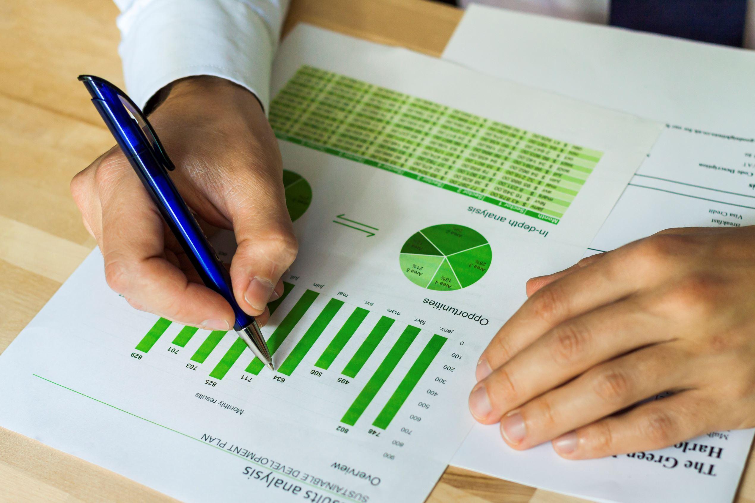Businessman analyzing sustainable development chart