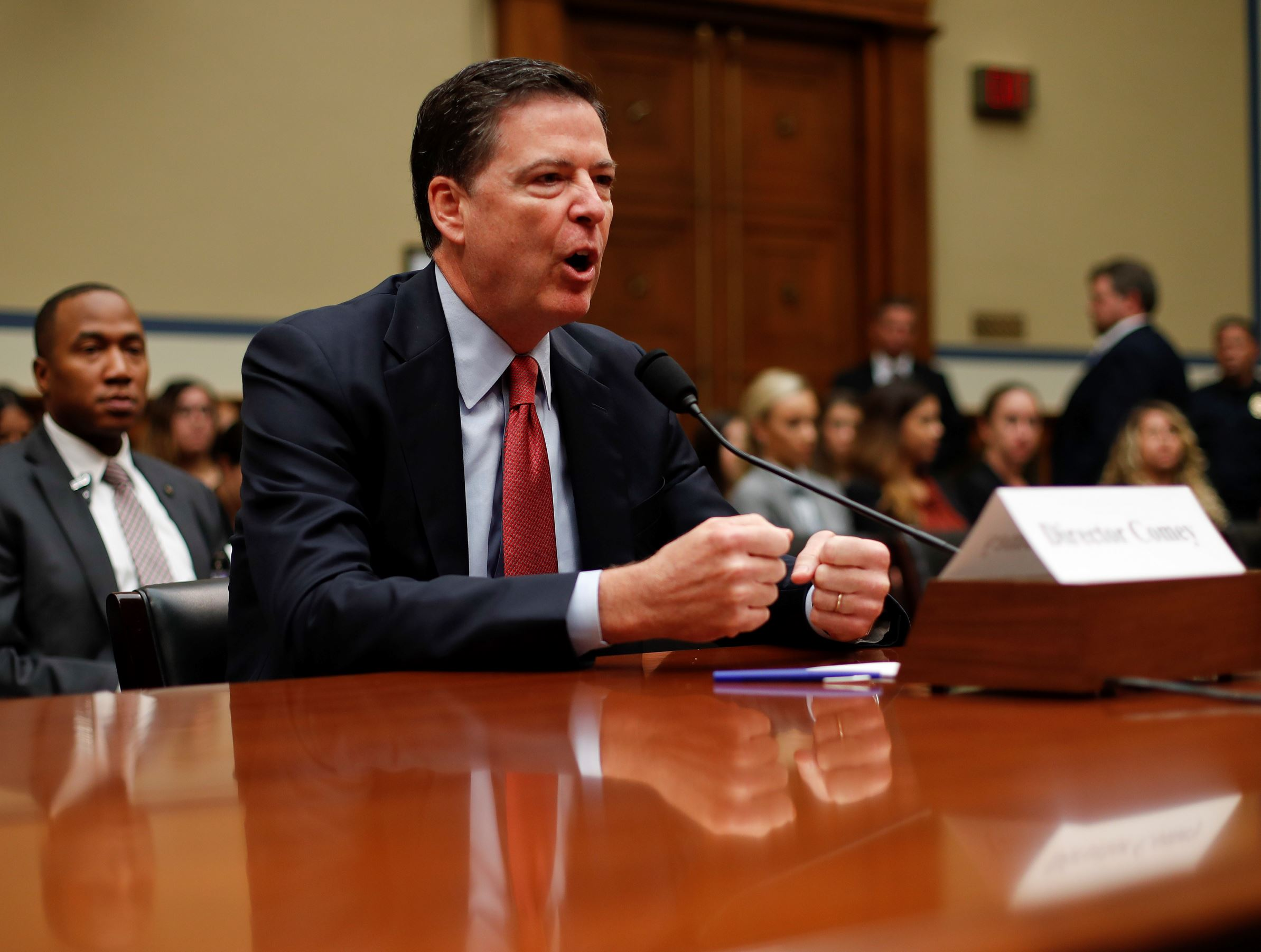 FILE - In this Sept. 28, 2016, file photo, FBI Director James Comey testifies on Capitol Hill in Washington.