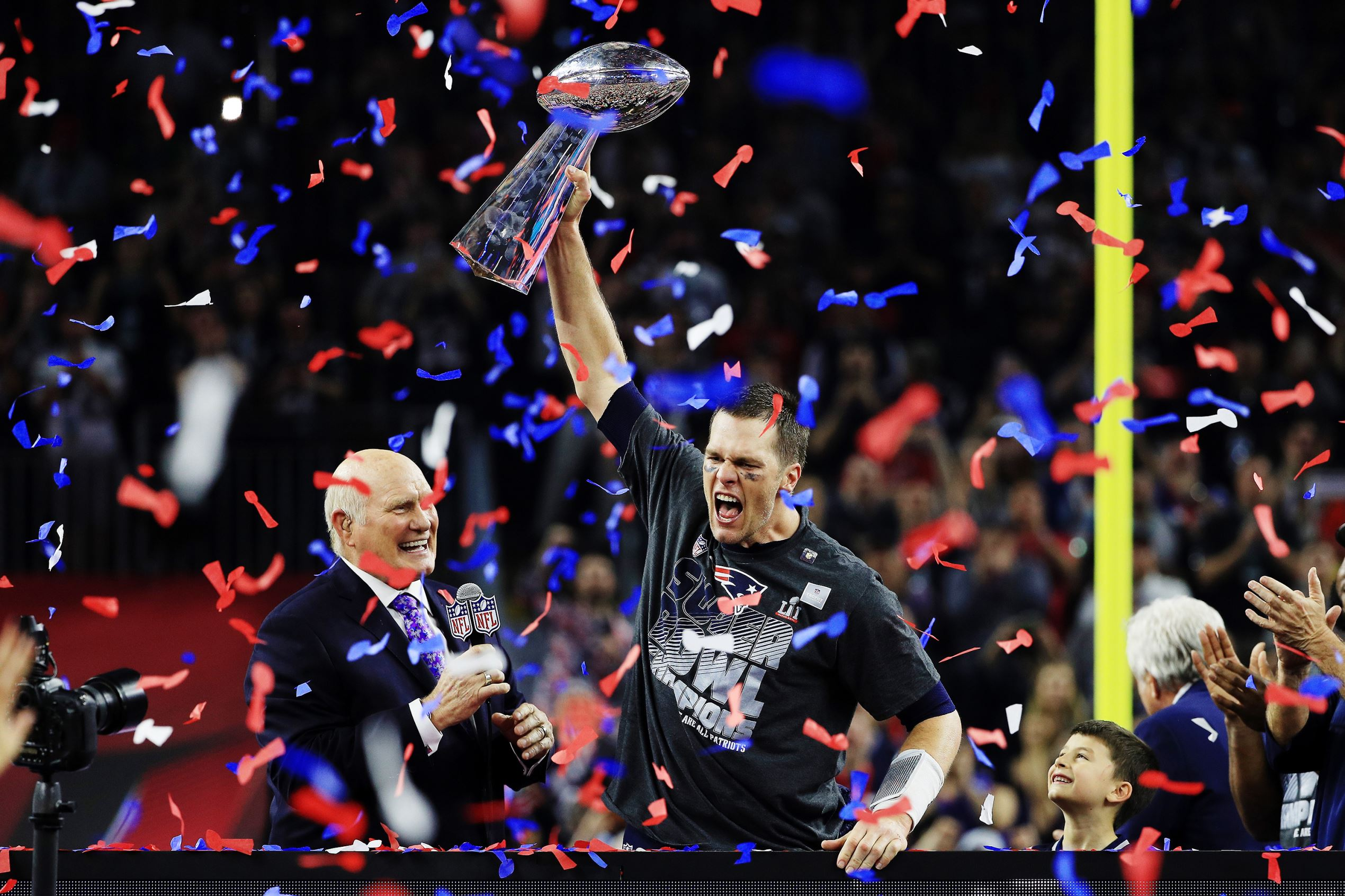 Slide 1 of 29: Tom Brady #12 of the New England Patriots holds the Vince Lombardi Trophy after defeating the Atlanta Falcons 34-28 during Super Bowl 51 at NRG Stadium on Feb. 5, in Houston, Texas.