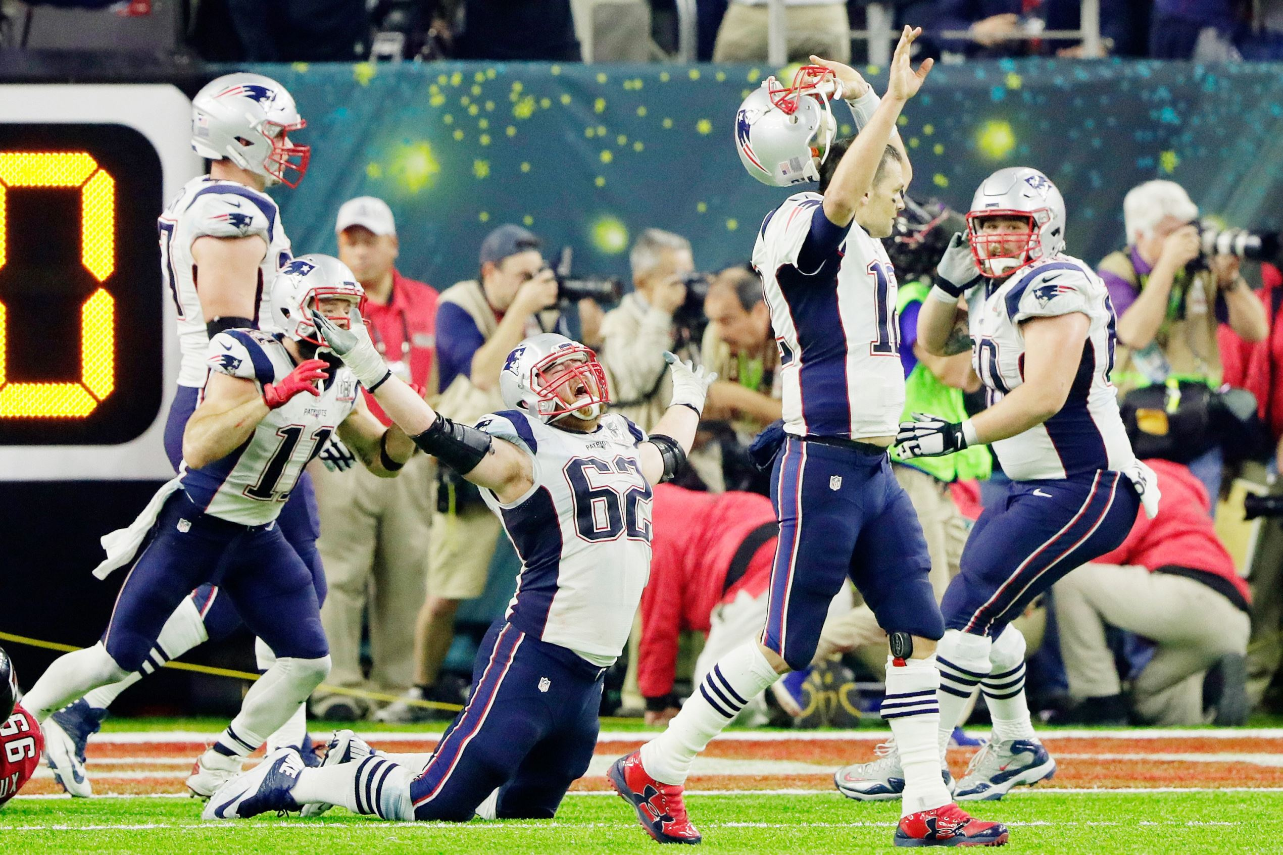 Slide 2 of 29: Tom Brady #12 of the New England Patriots reacts after defeating the Atlanta Falcons 34-38 in overtime during Super Bowl 51 at NRG Stadium on Feb. 5, in Houston, Texas.
