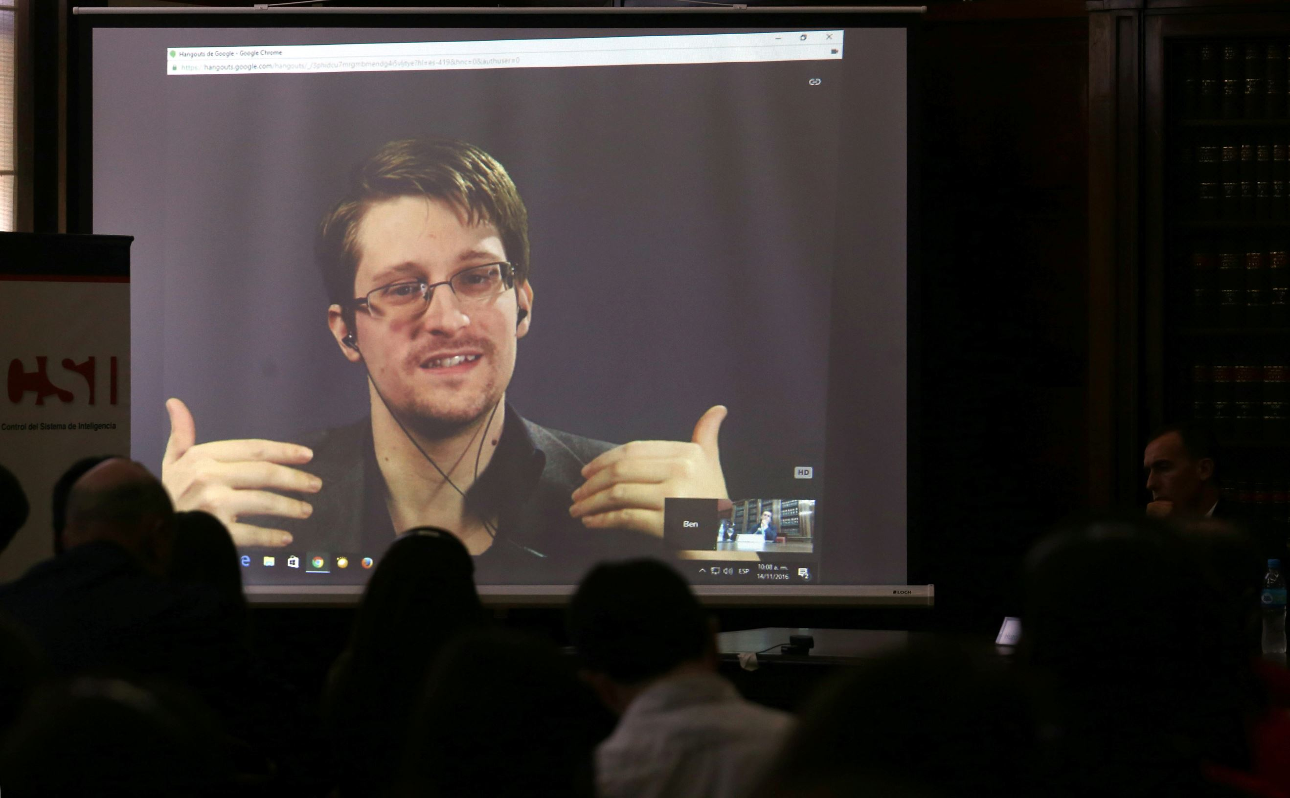 Edward Snowden speaks via video link during a conference at University of Buenos Aires Law School, Argentina, November 14, 2016.