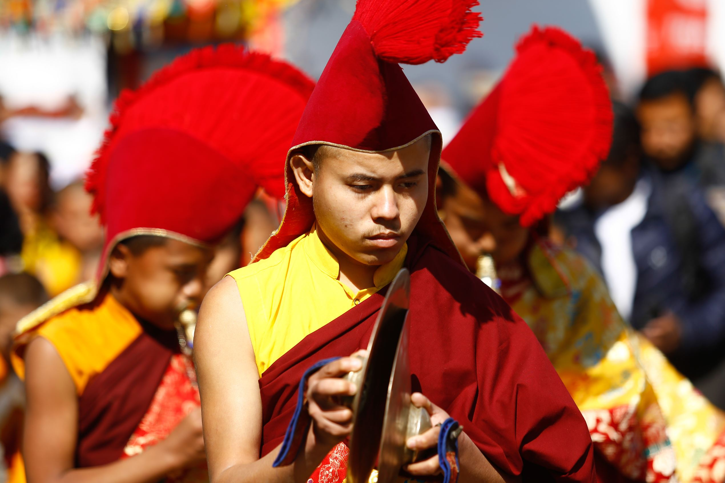 Buddhist monk in festival attire participate in the rally to mark Sonam Losar or Lunar New Year in Kathmandu, Nepal, January 28, 2017. (Photo by Sunil Pradhan/NurPhoto via Getty Images)