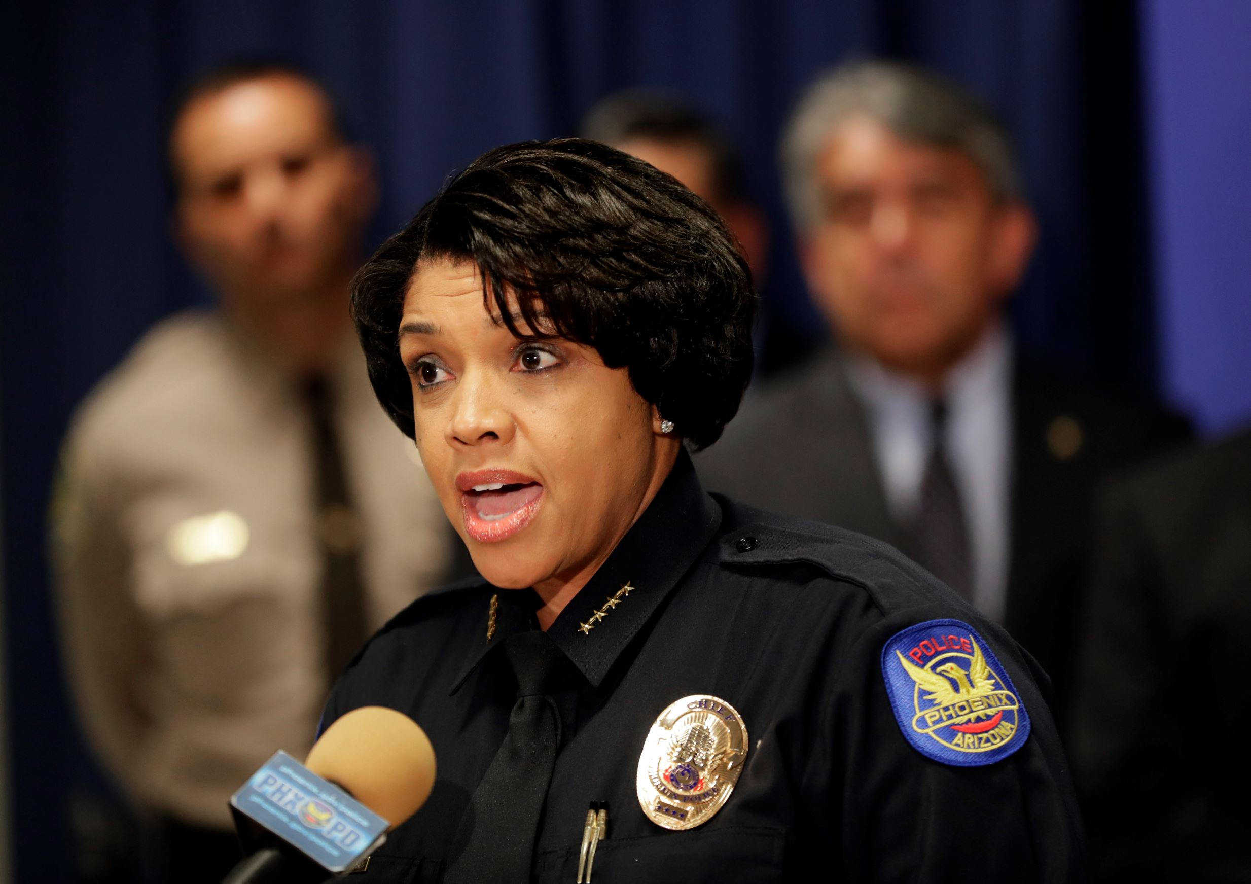 Phoenix Police Chief Jeri L. Williams announces, Monday, May 8, 2017, in Phoenix, the arrest of 23-year-old Aaron Saucedo in connection with the serial street shootings that terrorized the Phoenix area over four months in 2016.
