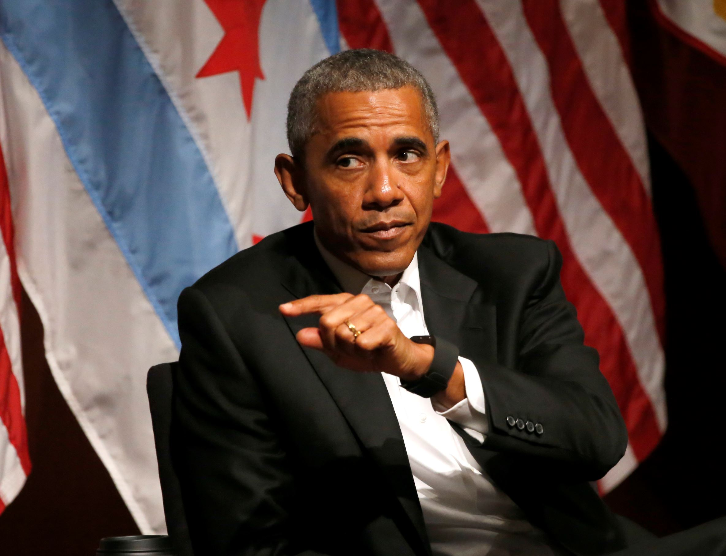 Former President Barack Obama hosts a conversation on civic engagement and community organizing, Monday, April 24, 2017, at the University of Chicago in Chicago. It's the former president's first public event of his post-presidential life in the place where he started his political career.