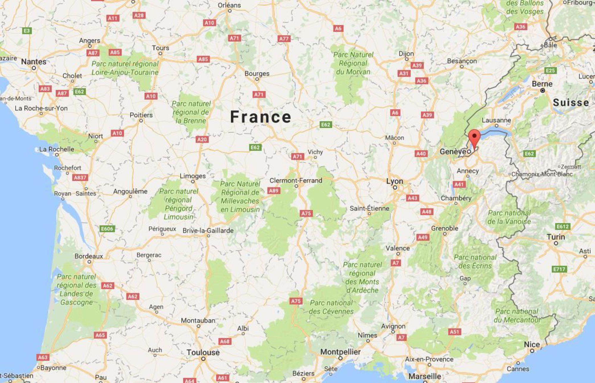 L'école se situe à Ville-la-Grand, près de Genève (en rouge).
