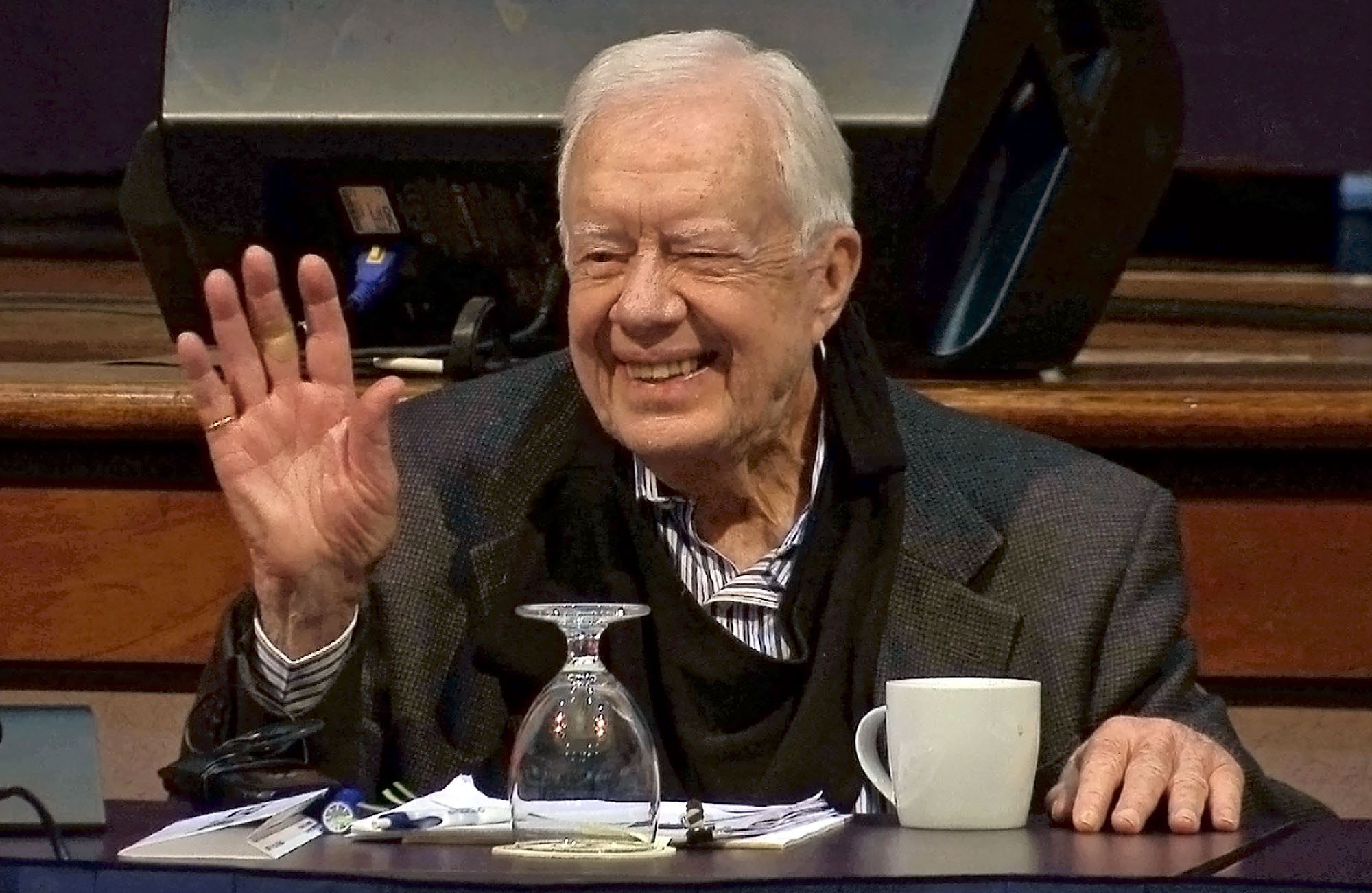 Former President Jimmy Carter gestures at the annual Human Rights Defenders Forum at The Carter Center, Tuesday, May 9, 2017, in Atlanta.