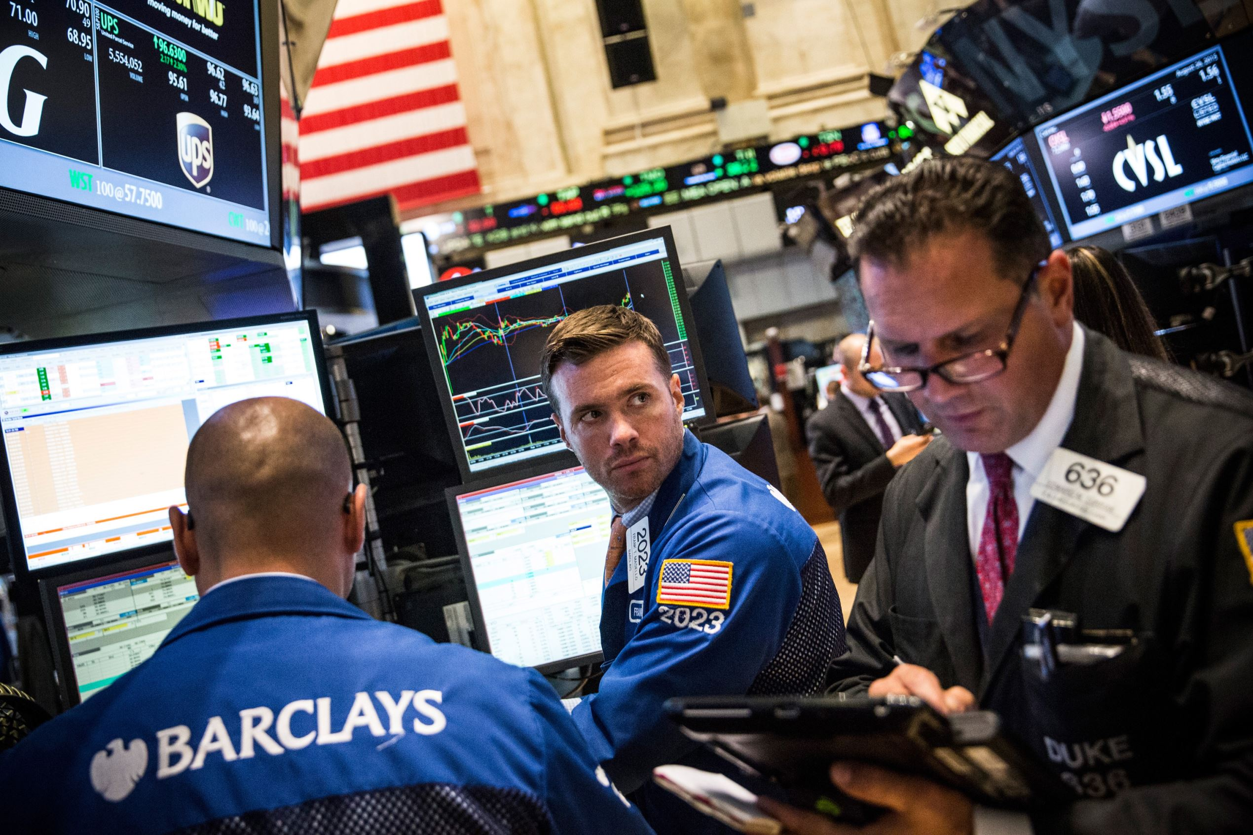 Traders work on the floor of the New York Stock Exchange during the afternoon of August 26, 2015 in New York City.
