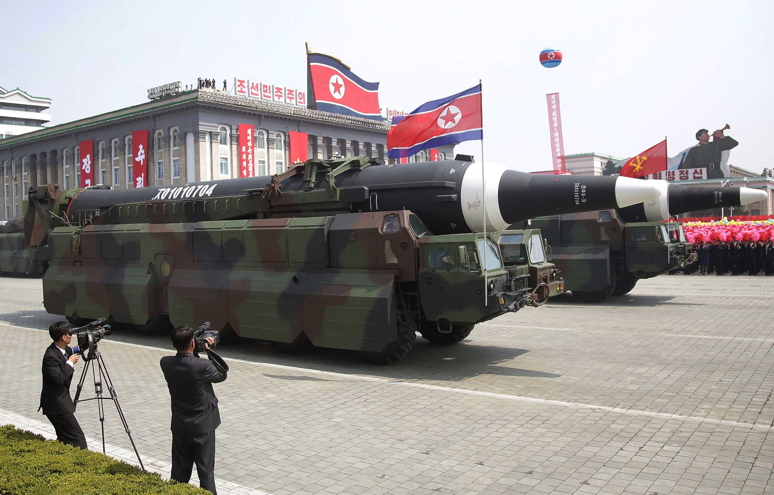 Slide 3 of 26: n what military experts say appears to be a North Korean KN-08 Intercontinental Ballistic Missile (ICMB) is paraded across Kim Il Sung Square during a military parade on Saturday, April 15, 2017, in Pyongyang, North Korea, to celebrate the 105th birth anniversary of Kim Il Sung, the country's late founder and grandfather of current ruler Kim Jong Un.