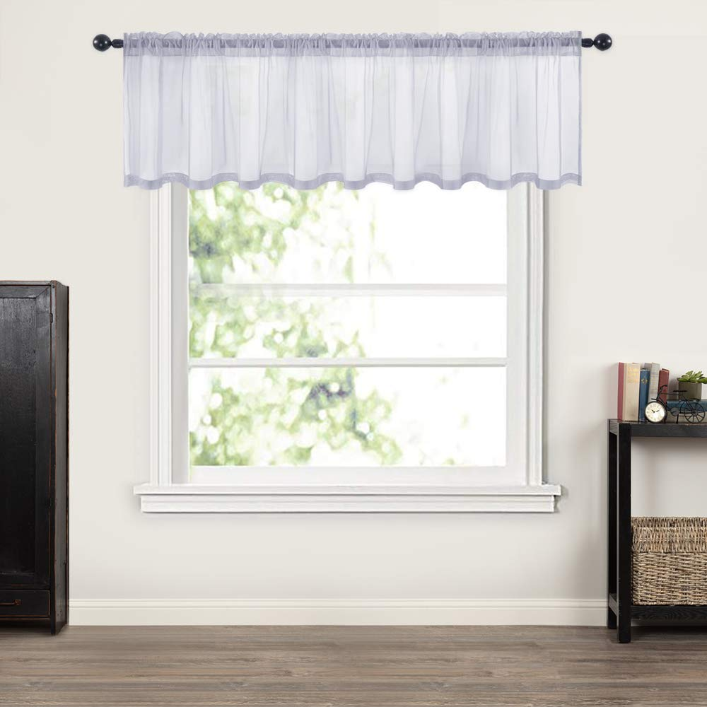 miulee window valance half window sheer curtains rod pocket semitranslucent voile drapes extra wide for small window kitchen cafe one panel 60 x 18