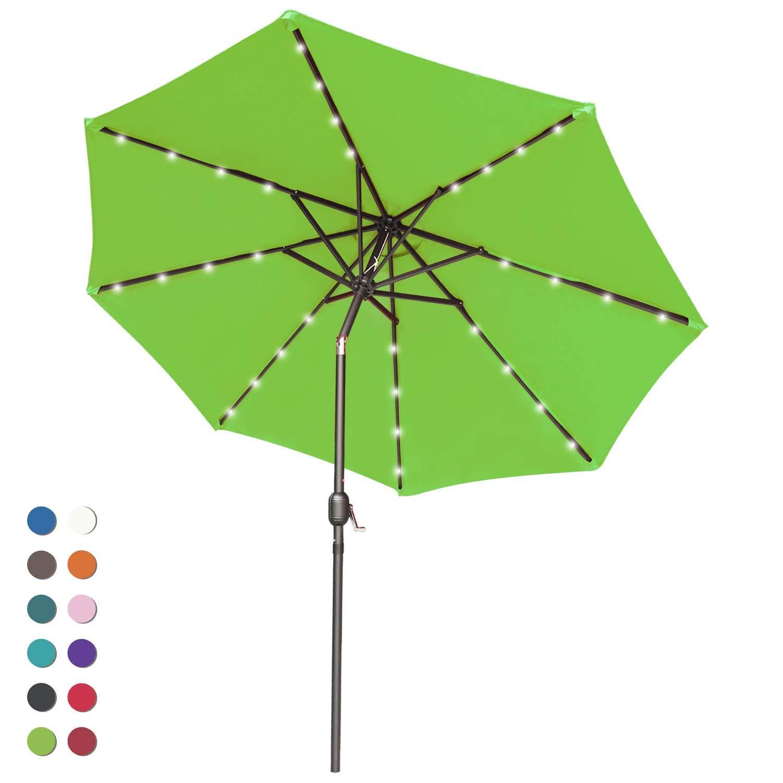 abccanopy solar umbrellas patio umbrella 9 ft led umbrellas 32led lights with tilt and crank outdoor umbrella table umbrellas for garden deck