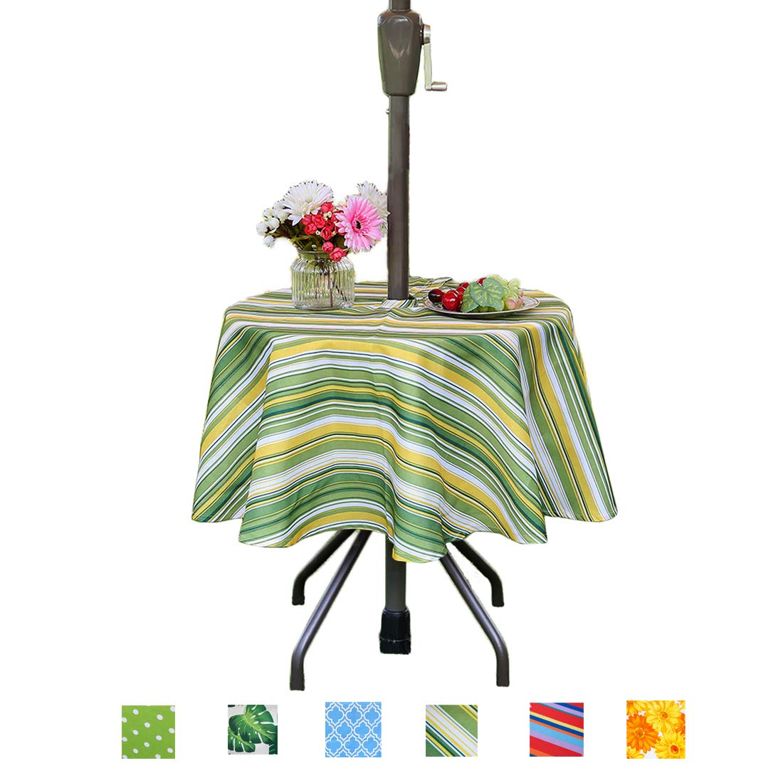 eternal beauty polyester tablecloths spill proof outdoor tablecloth round with umbrella hole zipper for spring summer patio picnic bbq green stripe