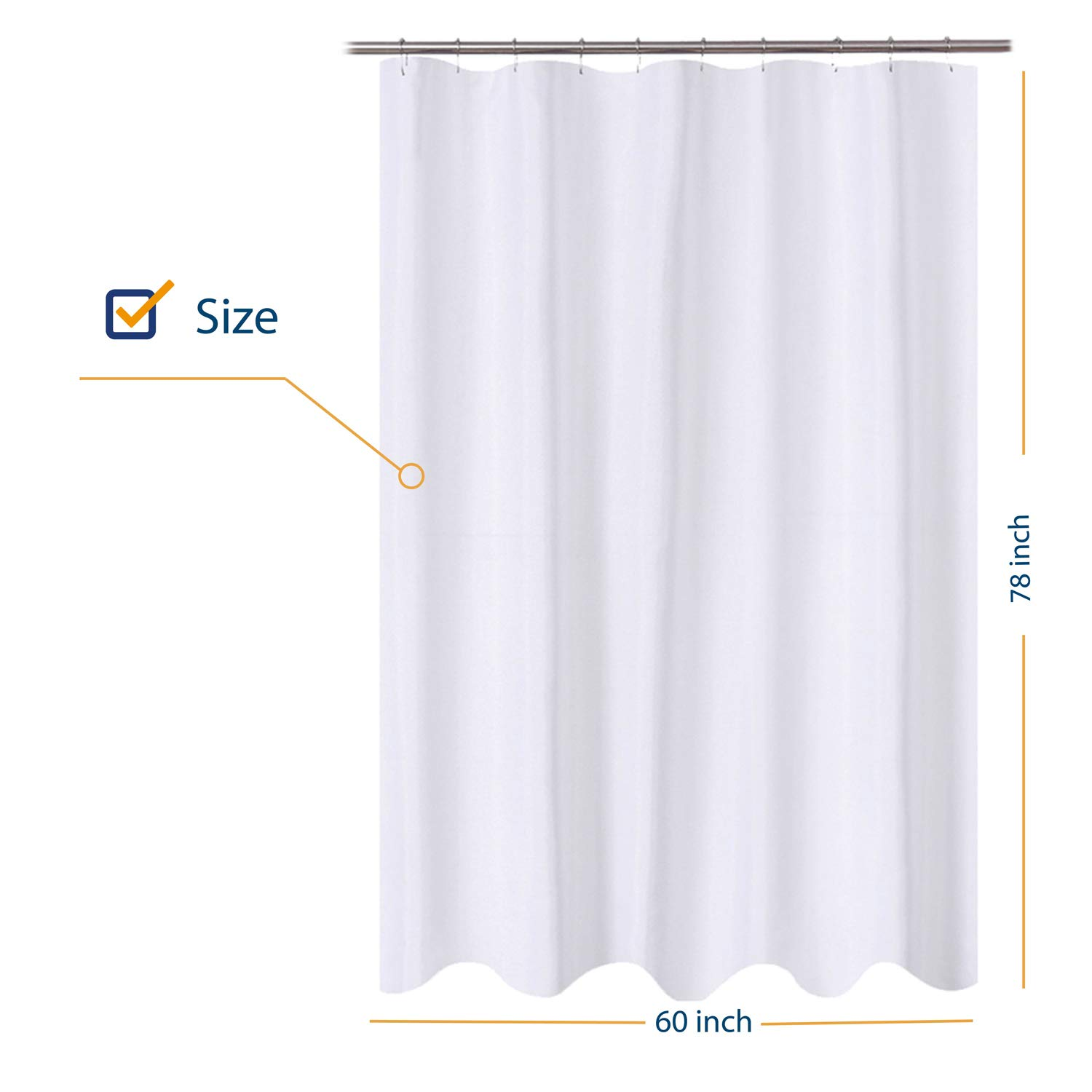 n y home fabric shower curtain liner 60 x 78 inch long stall size hotel quality washable water repellent white bathroom curtains with grommets
