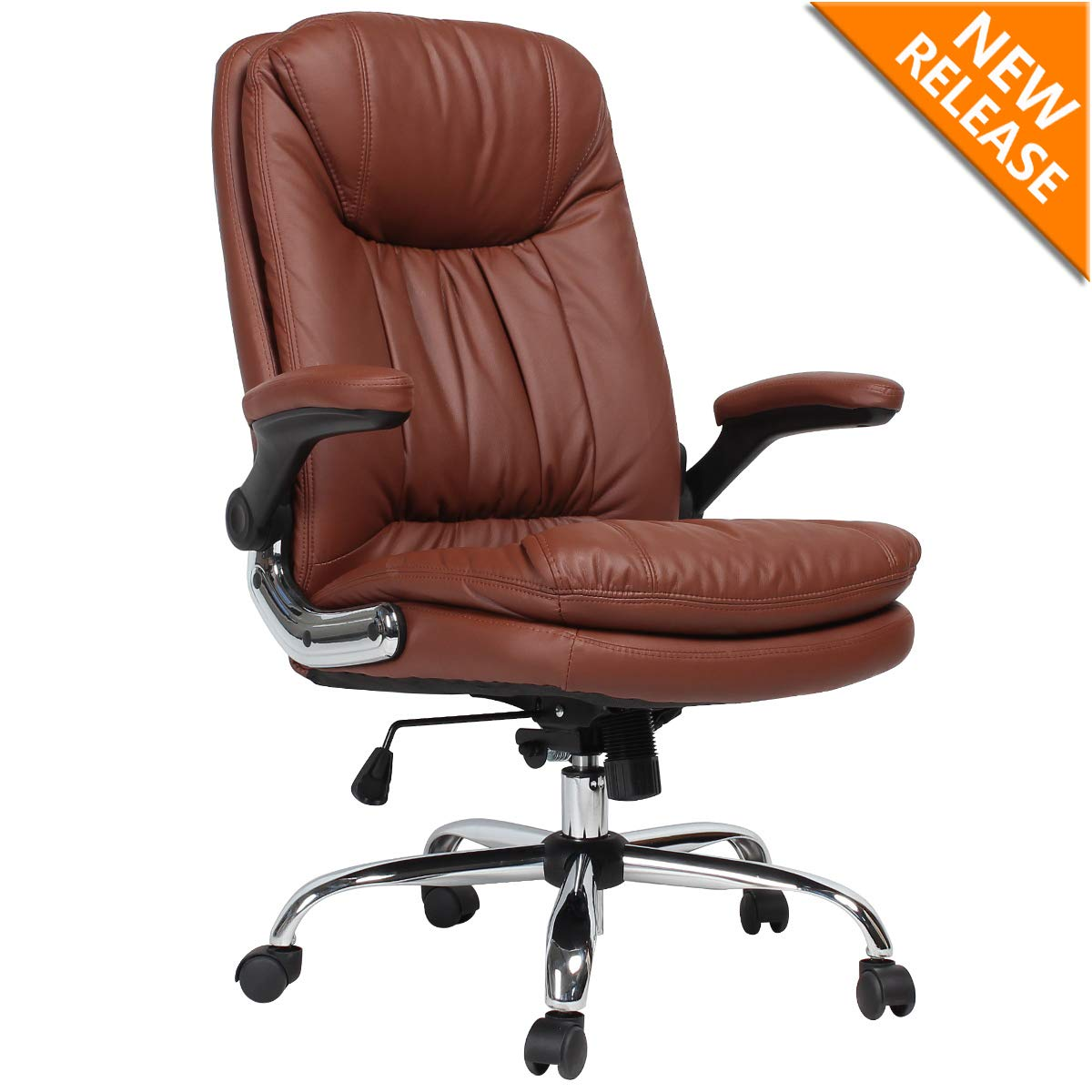 B2c2b Ergonomic Office Chair High Back Desk Chair With Flip Up Arms And Comfy Thick Cushion Leather Computer Chair Big And Tall 350lbs Brown