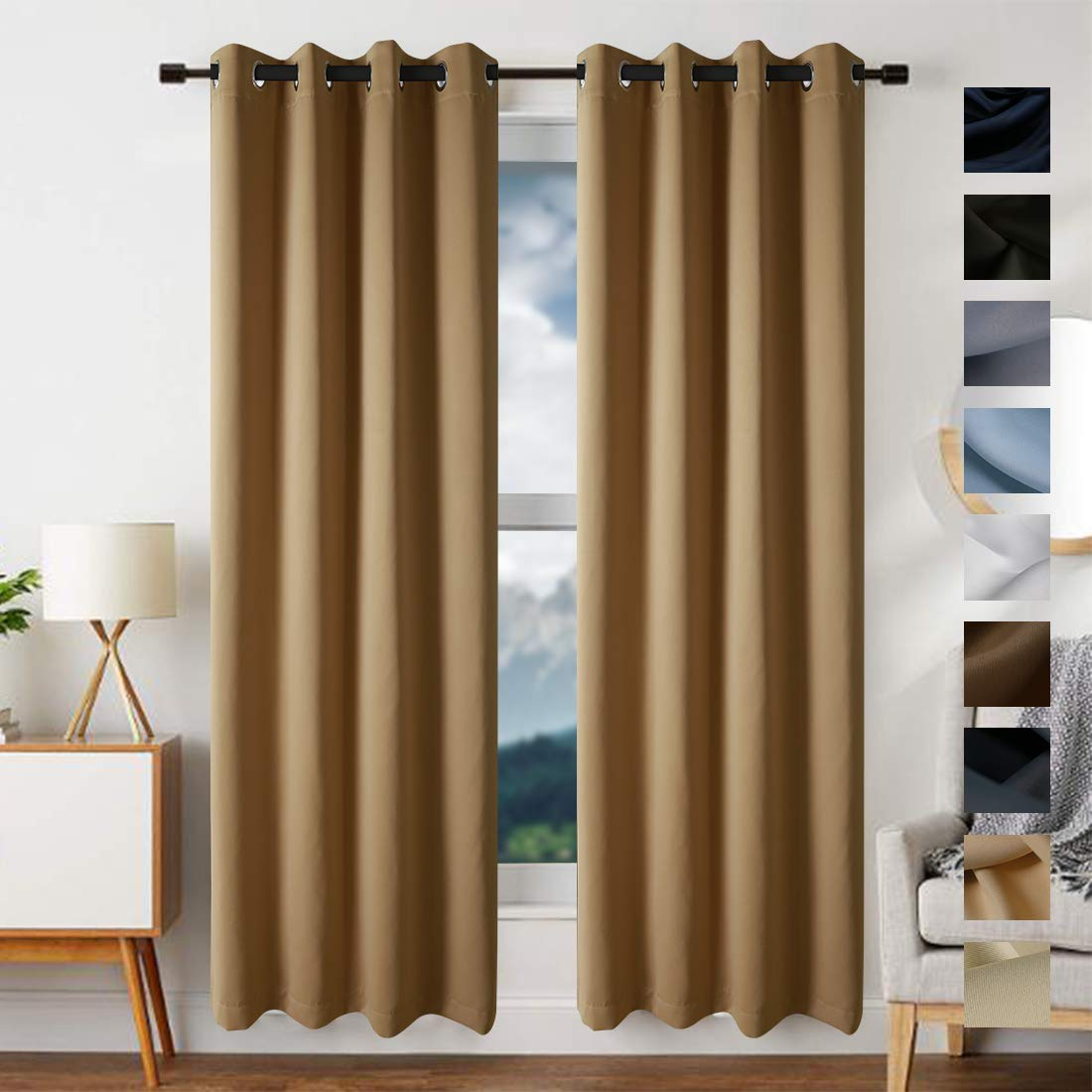 edilly blackout curtains drapery panels window treatment sets blackout draperies panels curtain for bedroom living room window kitchen 2 panels