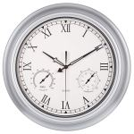 Bew Large Outdoor Clock 18 Inch Waterproof Thermometer Hygrometer Rustic Roman Wall Clocks Silent Metal Iron Battery Operated Wall Clock For Patio Pool Garden Lanai Fence Porch Silver