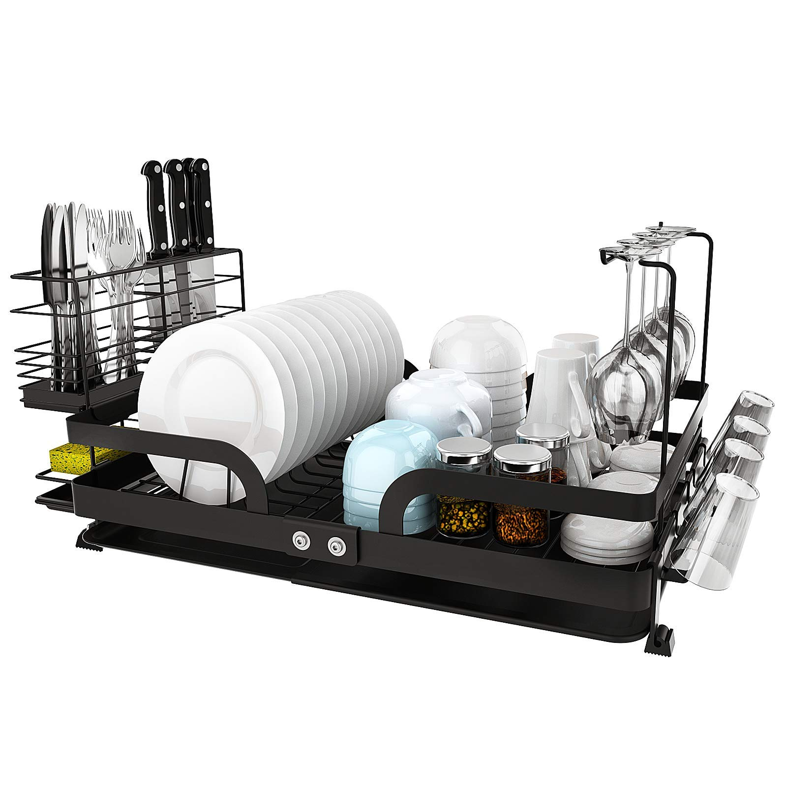 jzbrain dish drying rack foldable large dish rack with removable drainboard stainless steel dish drainer utensil holder cup holder attachments for