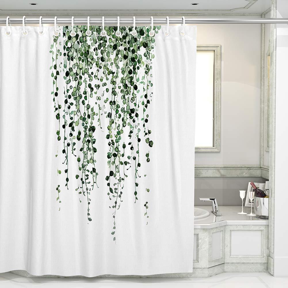 otostar shower curtains with 12 hooks durable polyester green eucalyptus leaves shower curtain bathroom decor bath curtain waterproof bathroom curtain