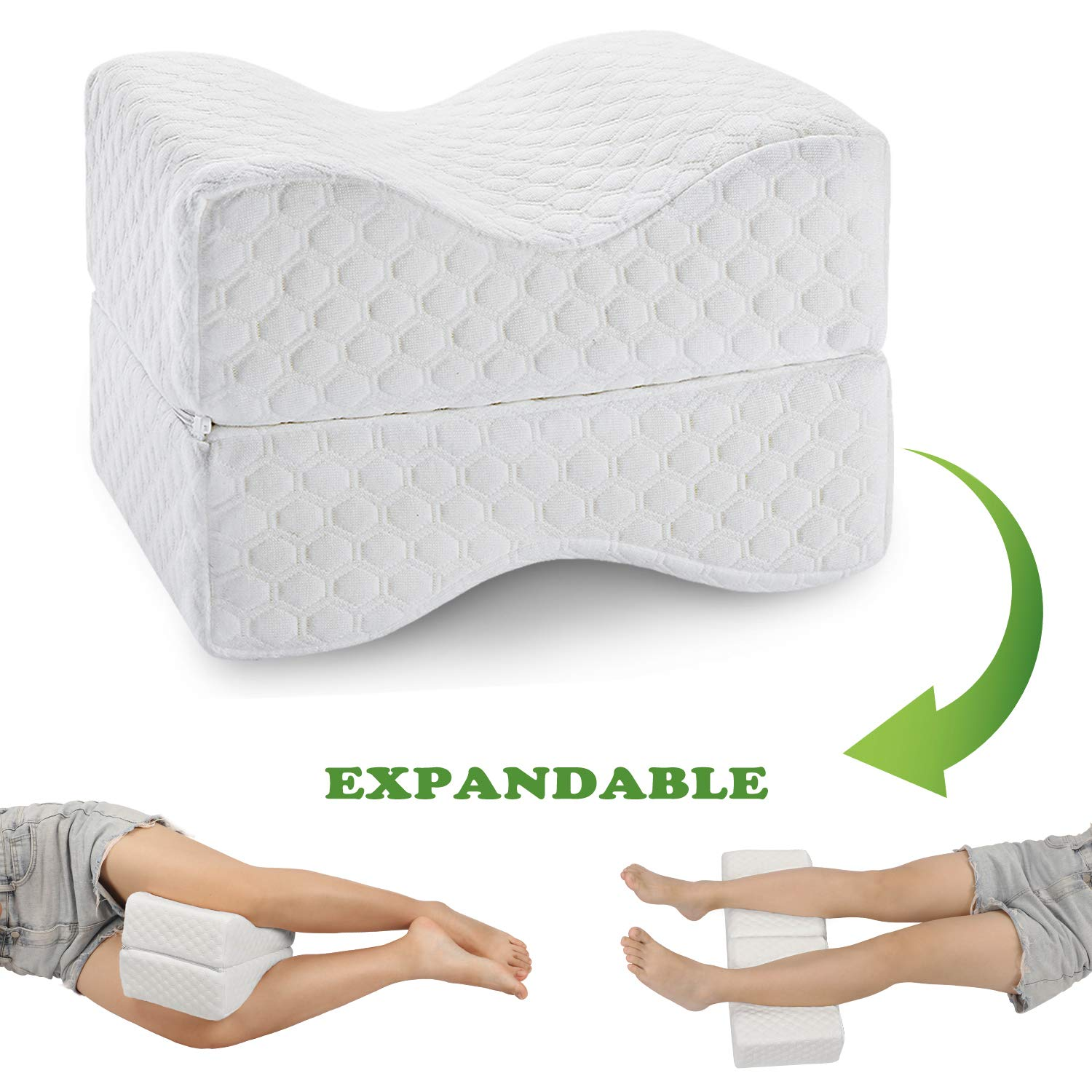 coisum knee pillow for side sleepers upgraded foldable expandable leg pillow for sciatica back pain leg hip joint pain orthopedic memory