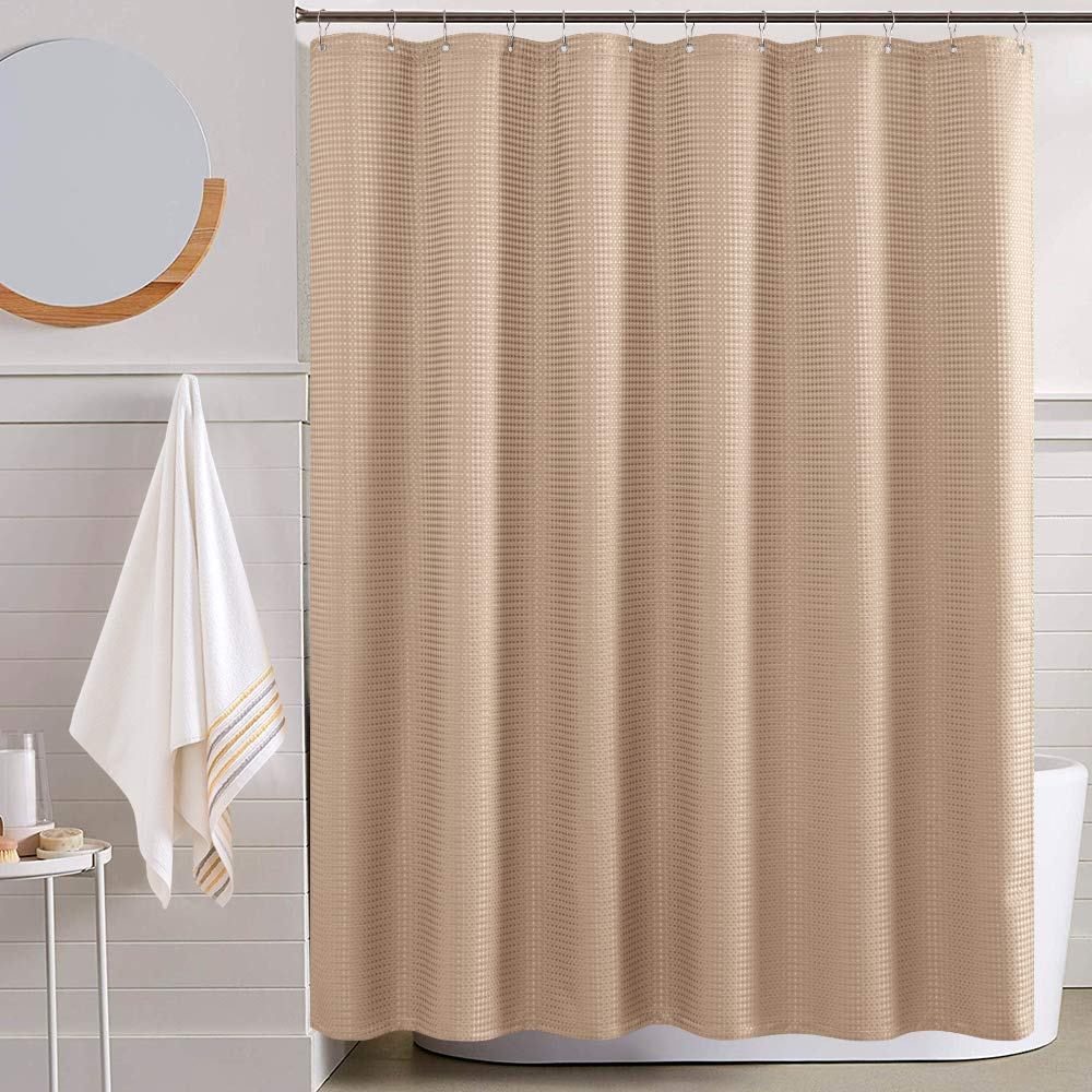 jinchan water repellent shower curtain for bathroom waffle weave fabric shower curtain in bath 70 by 72 inch taupe