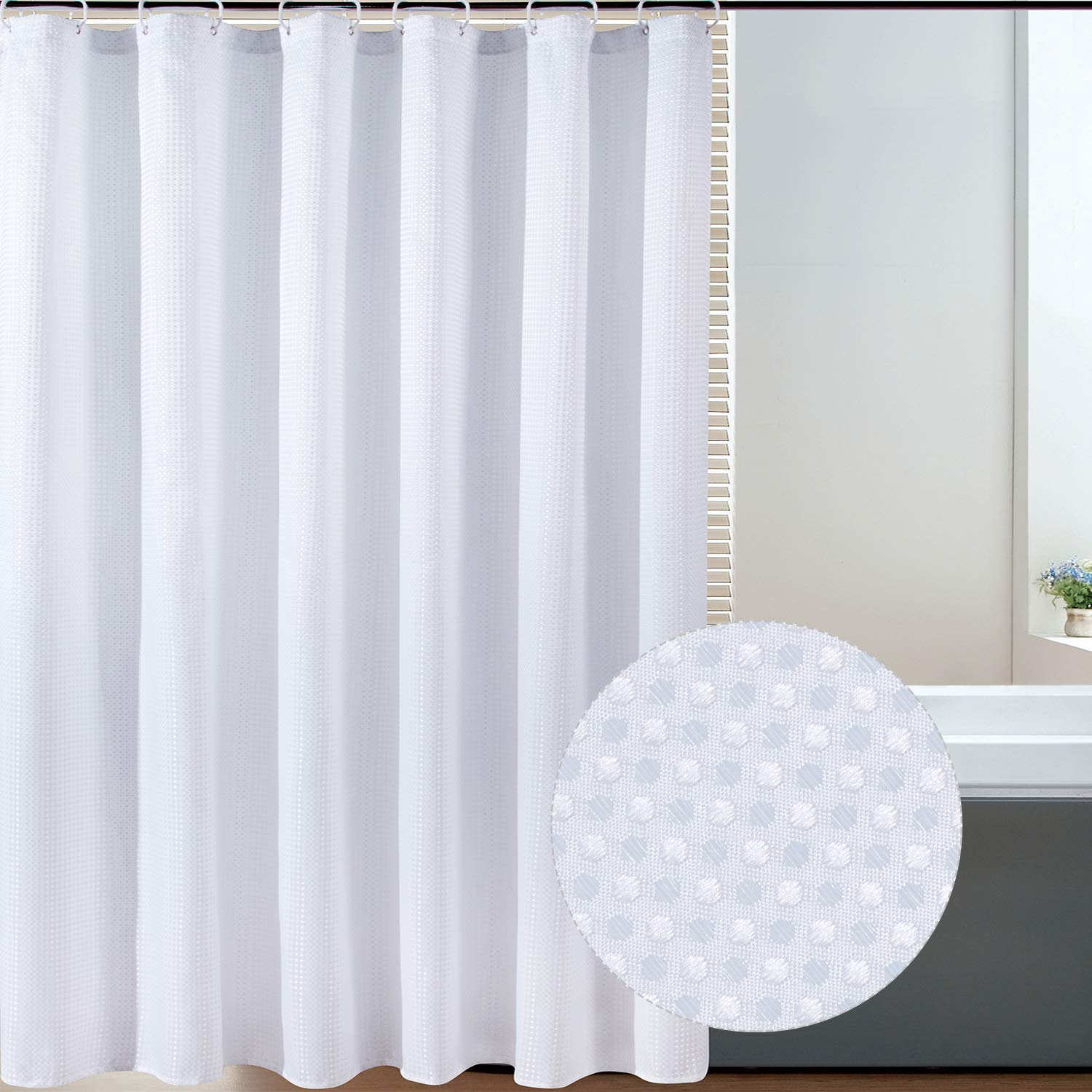 bermino textured fabric bath shower curtain white shower curtains for bathroom with 12 hooks 70 x 72 inch white
