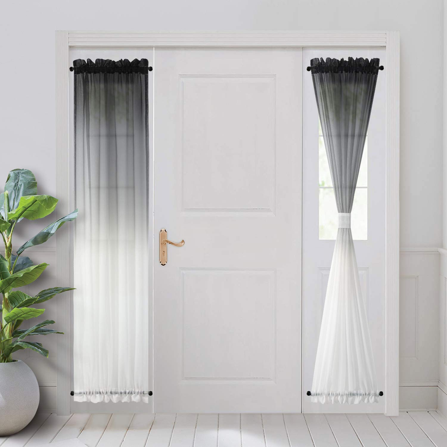 bgment ombre french door curtains rod pocket faux linen sheer sidelight drapes with 2 tie backs for door window set of 2 panels each 30 x 72 inch