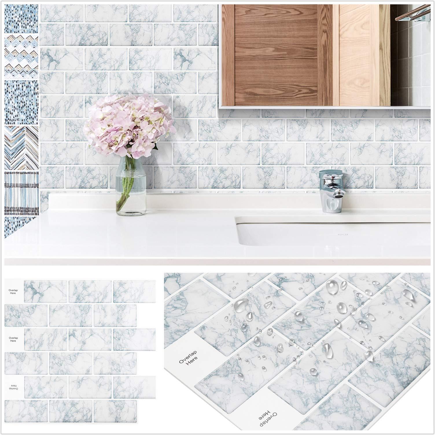 homeymosaic peel and stick tile for kitchen backsplash stick on tiles for kitchen 12x12 inches snowflake marble white subway tile with white