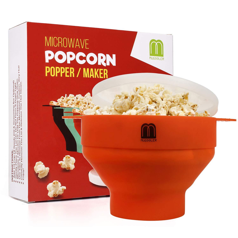 mugooler microwave popcorn popper silicone popcorn maker collapsible bowl bpa free orange