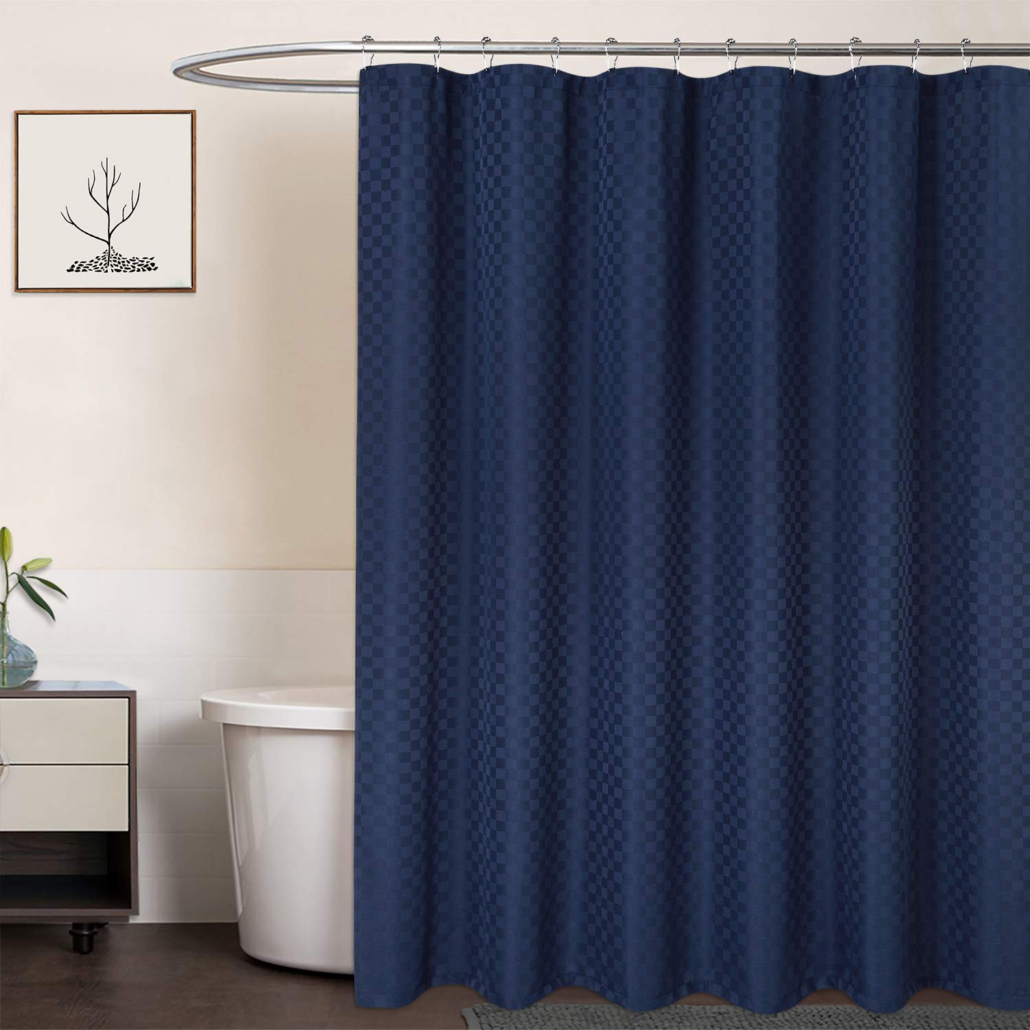 caromio navy blue shower curtain 190gsm heavy duty thick hotel luxury fabric shower curtain for bathroom washable navy blue 72x78 inches