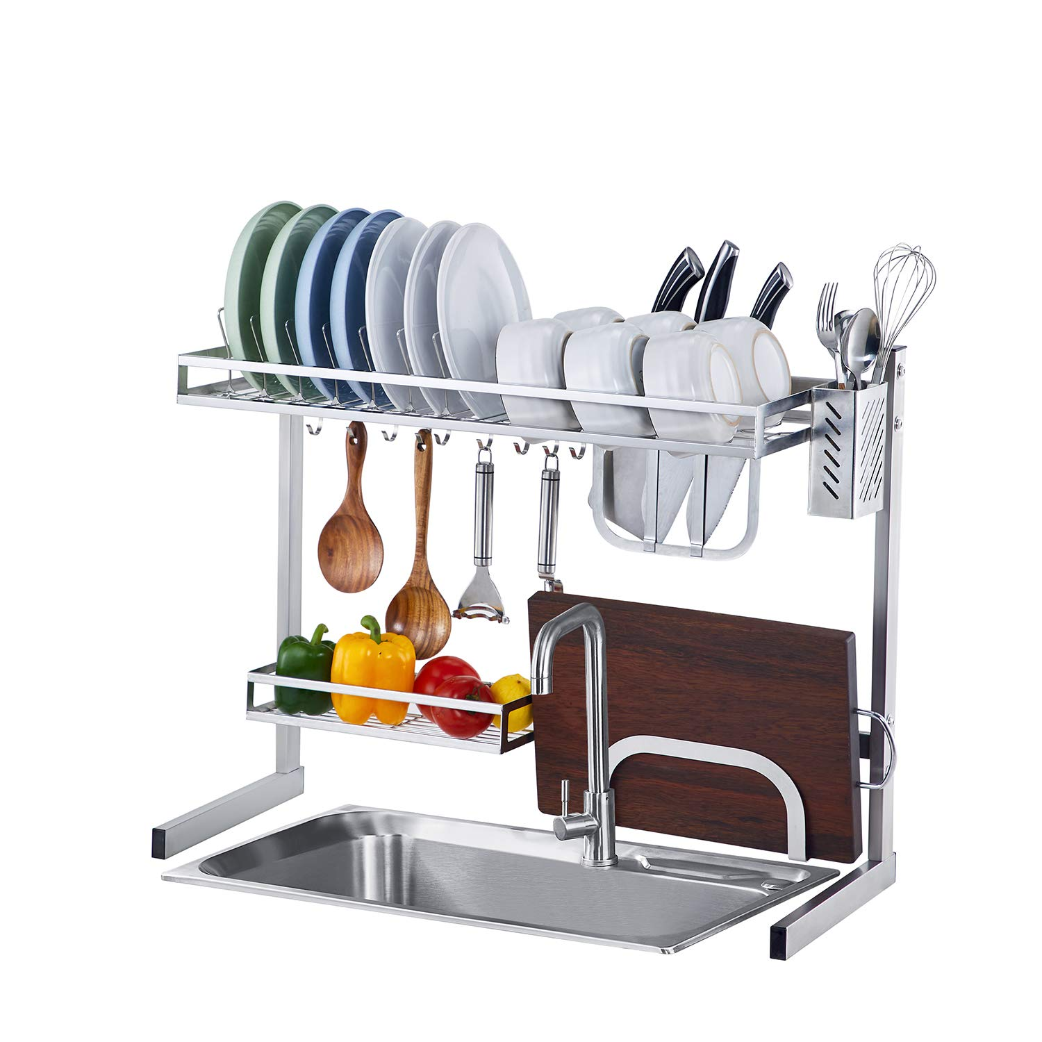 istboom over the sink dish drying rack stainless steel over sink dish drainer storage shelf for kitchen sink size 25 inch silver