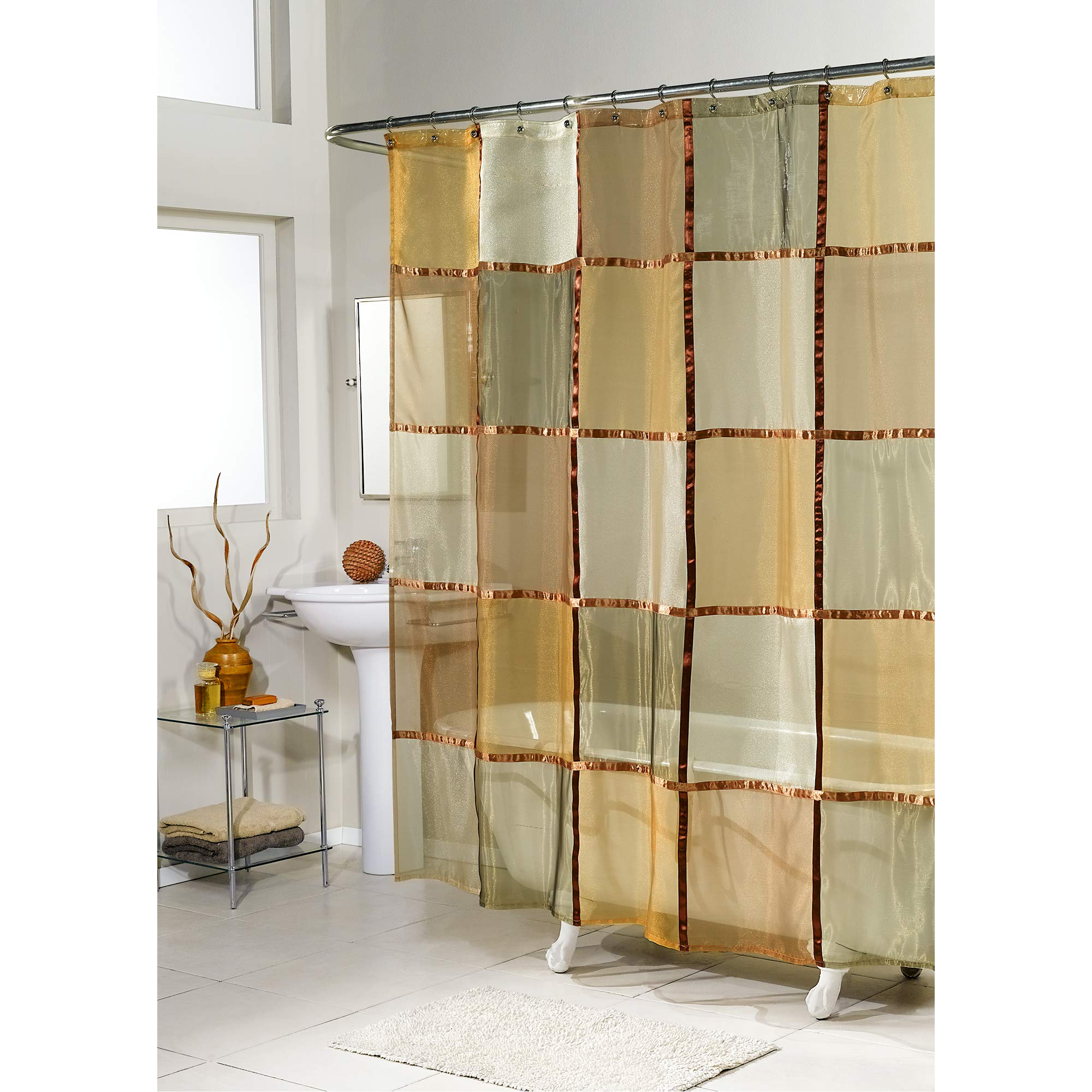 excell home fashions mosaic fabric shower curtain superior quality water repellent quick dry shower curtain for master bathroom kid s guest
