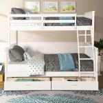 Merax Twin Over Full Bunk Bed Solid Wood Bunk Bed With Removable Ladders And Two Storage Drawers White